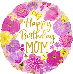 Happy Birthday Mom Painted Flowers