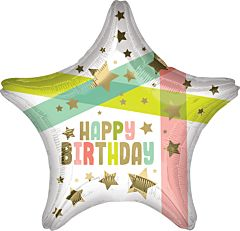 """19"""" Happy Birthday Gold Stars and Colors"""