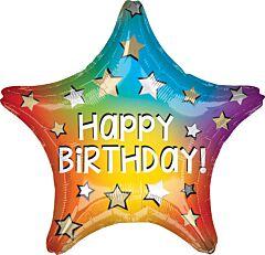 "19"" Happy Birthday Rainbow Star"