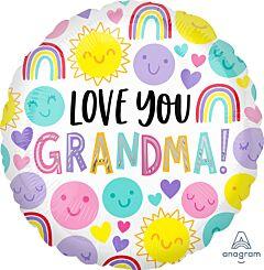 "17""Love You Grandma Happy Faces"