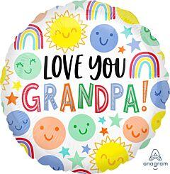 """17""""Love You Grandpa Happy Faces"""