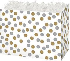 "6.75 x 4 x 5"" Small Box - Dots Gold/Silver"