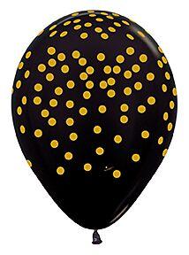 """11"""" Gold Confetti Latex Black"""
