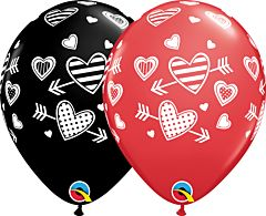 "11"" Qualatex Patterned Hearts & Arrows Latex"