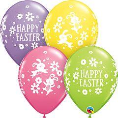 "11"" Qualatex Easter Bunnies/Daisies Latex"