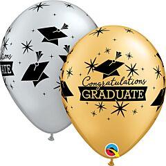 """11"""" Qualatex Congrats Grad Cap Latex - Silver/Gold"""