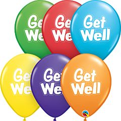 """11"""" Qualatex Get Well Dashed Outline Assorted Latex"""