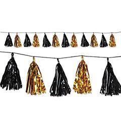 8' Tassel Garland - Black/Gold