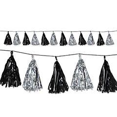 8' Tassel Garland - Black/Silver