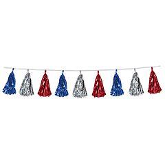 8' Tassel Garland - Red/Silver/Blue