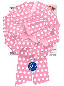 """10"""" Pre-Made Bow - Pink & White Dots"""