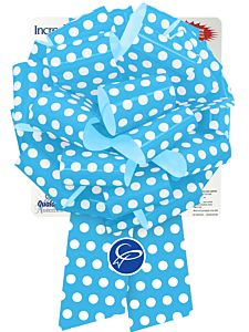 """10"""" Pre-Made Bow - Blue & White Dots"""