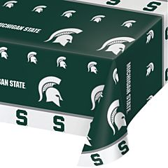 "54X108"" Plastic Table Cover - Michigan State"