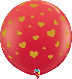 "36"" Random Hearts-A-Round Latex - Red"