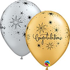 """11"""" Congrats Elegant Silver Gold Latex"""