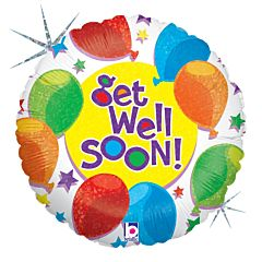 "9"" Balloon & Star Get Well Holographic"