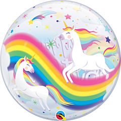 "22"" Bday Rainbow Unicorns Bubble"