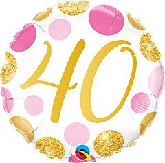 "18"" Pink/Gold Dots 40"