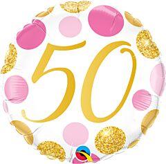 "18"" Pink/Gold Dots 50"