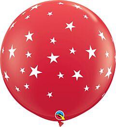 """36"""" Contempo Stars-A-Round Latex-Red"""