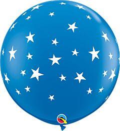 """36"""" Contempo Stars-A-Round Latex-Dark Blue"""