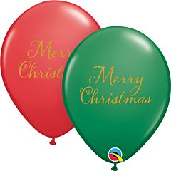 """11"""" Merry Christmas Latex Green/Red"""
