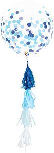 "17"" Blue Confetti with Tassel Latex"