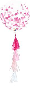 "17"" Pink Confetti with tassel Latex"