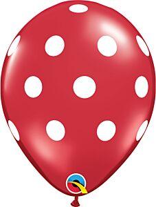 "11"" Big Polka Dots Latex - Ruby Red"