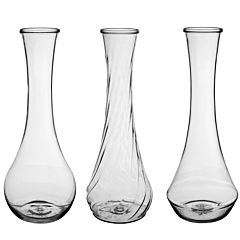 "9"" Plastic Bud Vase Assorted - Clear"