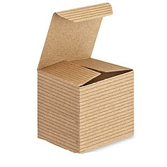 "2X2X2"" Pinstripe Gift Box -Kraft"