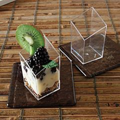 "1.6"" X 3"" Diamond Plastic Cube - Clear 20/10"