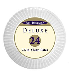 """7.5"""" Deluxe Plastic Plate - Clear 12/24"""