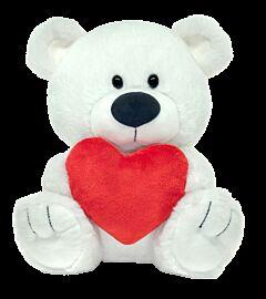 """9.5"""" White Bear w Heart Plush"""