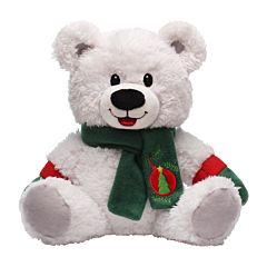 "9"" White Bear with Scarf Plush"